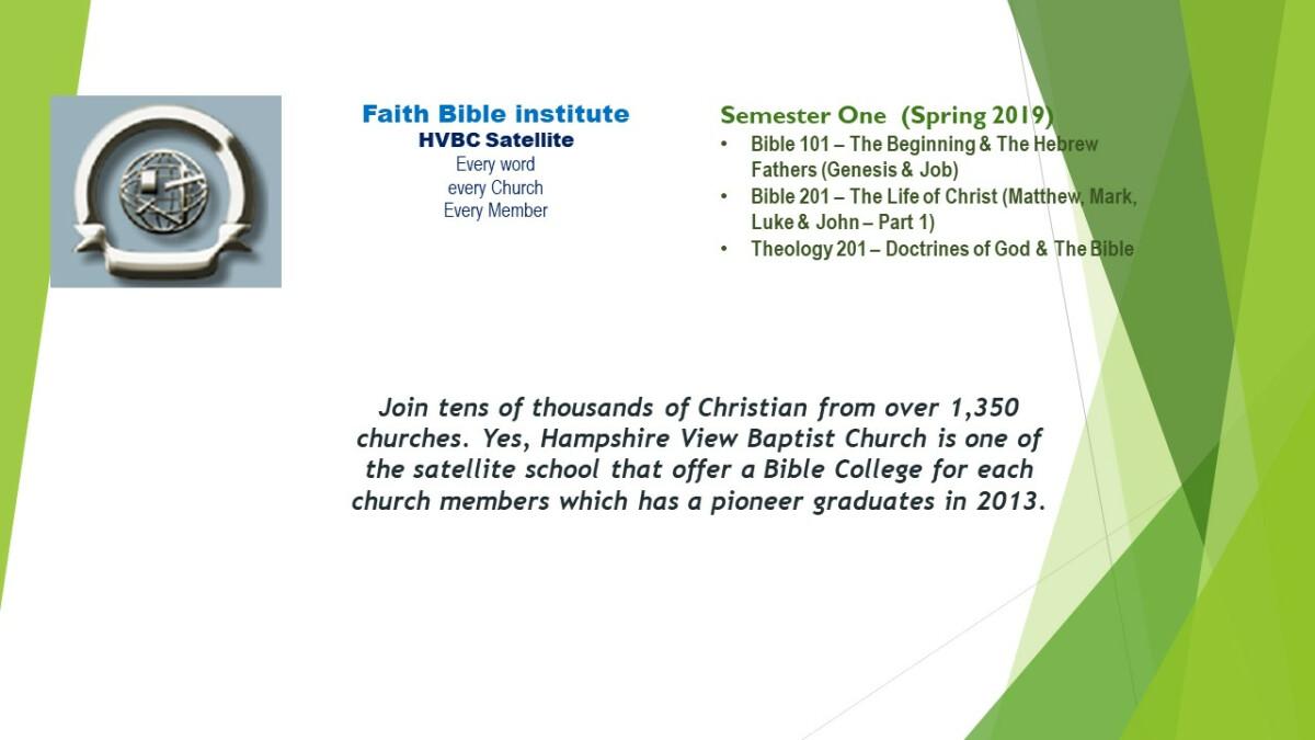 Faith Bible Institute Spring 2019