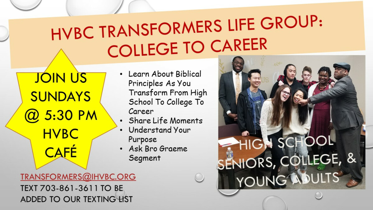 TRANSFORMERS: College to Career Life Group