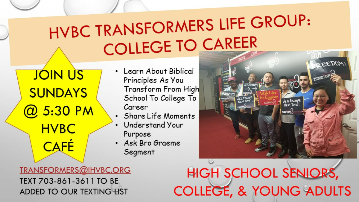 HVBC TRANSFORMERS: College to Career Life Group