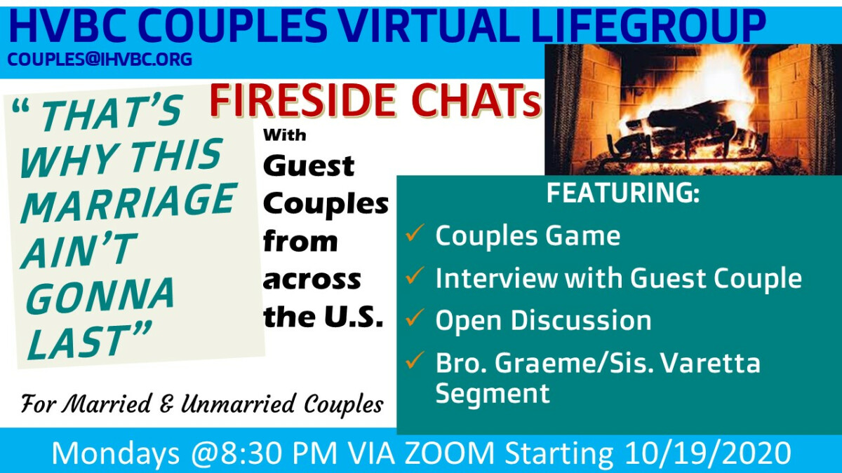 HVBC Virtual Couples LifeGroup: TWTMAGL Fireside Chat Series